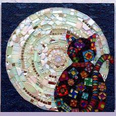 Mosaic Cat & Moon