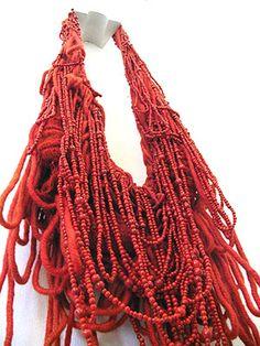 WILLEMIJN DE GREEF-NL What a stunning neck piece! 'Weavings' - wool, imitation coral, thread, plastic