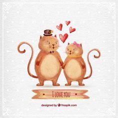 手描きの猫のカップル 無料ベクター