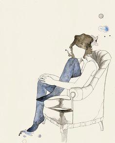 Ragazza In sedia 2, 2010 - stampa Stampa di unillustrazione originale di inchiostro e acquerello. Limmagine misura circa 8 x 10 , più un bordo
