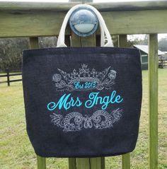 Bride Bag  Royal  Monogram on Black Jute by sewgoddesscreations, $25.00