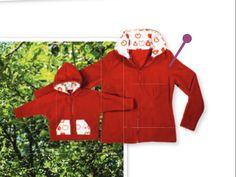 Patron gratuit à imprimer et instructions détaillées pour réaliser une veste polaire en 2 versions : pour enfants et femmes.  La veste en polaire femme (taille 40/42) est dotée d'un col et celle des enfants (taille 80/86 ou 104/110) d'une capuche.