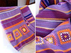 Crochet throw purple orange granny squares, looove the colors
