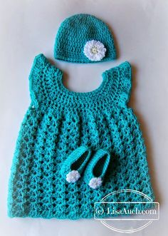 Free #Crochet Baby Set Patterns Crochet Hat, Crochet Booties and Crochet Dress.