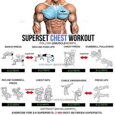 Bodybuilding Super chest workout tips step by step Fitness Workouts, Weight Training Workouts, At Home Workouts, Fitness Tips, Fitness Motivation, Body Training, Training Exercises, Arm Workouts For Men, Strength Training