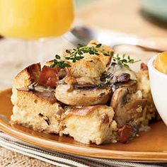 How to Make Mushroom, Bacon, and Swiss Strata | Breakfast casseroles are ideal for overnight guests. Assemble it the night before, and bake in the morning.