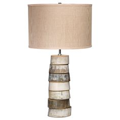 Stacked Horn One Light Table Lamp With Medium Drum Shade Accent Lamp Table Lamps Lamps