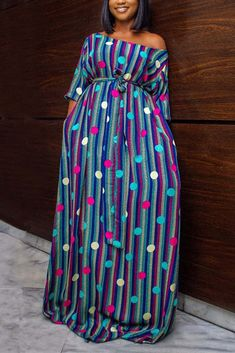 Latest African Fashion Dresses, African Dresses For Women, African Print Fashion, African Attire, Latest Fashion, Ankara Dress Styles, Ankara Maxi Dress, Stripes Fashion, Classy Dress
