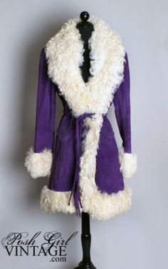 Purple suede and fur coat, Lilli Ann, 1960's.