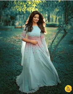 I swear this could be a fairy tale knee length affair too! Gown Party Wear, Party Wear Indian Dresses, Indian Gowns Dresses, Indian Wedding Outfits, Bridal Dresses, Dress Wedding, Wedding Hair, Wedding Rings, Indian Designer Outfits