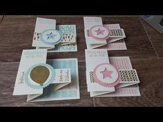 Congratulations card with stampin up products - Today I show you a mini album with articles from the current stampin´up annual catalog - Ideas Scrapbook, Scrapbook Cards, Fancy Fold Cards, Folded Cards, Card Making Tutorials, Making Ideas, Stampin Up, Karten Diy, New Baby Cards
