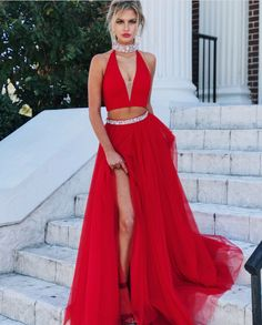 2018 Prom Dresses,Red Evening Gowns,Two Piece Prom Dress,High