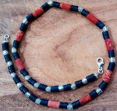 Men Gemstone Necklace Sponge Coral and Sodlite Dim Gems Necklace New Handmade