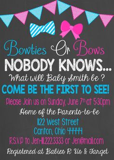 Gender Reveal Baby Shower Invitation/Bowties or by LaLaExpressions