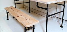You needed a new worktable/ dinner table/desk, right? Make one out of wood and iron pipe.
