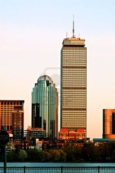 Boston Skyscrapers. Prudential Tower and 111 Huntington Avenue Stock Photo