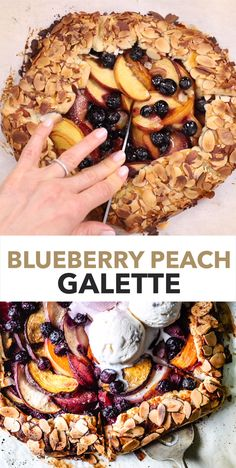 This peach blueberry galette is a rustic fruit tart that you can make in no time. Juicy summer fruit mildly sweetened with coconut sugar and baked in a buttery galette dough. Peach Tart Recipes, Almond Recipes, Fruit Recipes, Gourmet Recipes, Sweet Recipes, Baking Recipes, Snack Recipes, Dessert Recipes, Fruit Galette Recipe