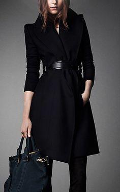 Navy Blue Wool Coat - Cashmere