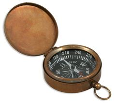 Antique Brass Pocket Compass with Hinged Lid [002303]
