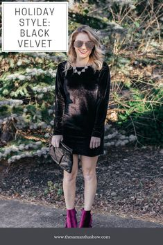 7ff698f7bd4 Holiday Style  Black Velvet Dress