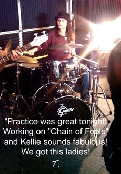 """Practice was great tonight! Working on ""Chain of Fools"" and Kellie sounds fabulous! We got this ladies!""  T"