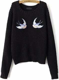 Swallow Embroidered Knit Sweater