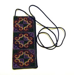 Cross Stitch Embroidered Eye Glass Case Pouch (red-brown peach purple sky blue white)