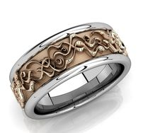 Art Nouveau inspired Gents wedding band
