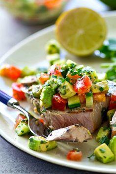 Gegrillter Thunfisch mit Limette und Koriander