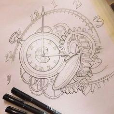 clock gears tattoo - Google Search
