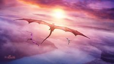 Sunset Dragons by Ellysiumn on DeviantArt Fantasy Dragon, Dragon Art, Fantasy World, Fantasy Art, Cool Dragons, Dark Pictures, Magical Creatures, How To Train Your Dragon, Beautiful Sky