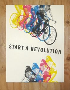 "Man Vs Ink AKA Fred DiMeglio, ""Start a Revolution"" 18x24  Four Color Silkscreen Print heavy tag paper Fred DiMeglio is based in Portland, OR"