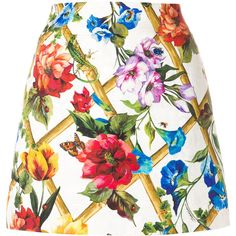 Dolce & Gabbana floral print brocade mini skirt (€700) ❤ liked on Polyvore featuring skirts, mini skirts, multicolour, floral miniskirts, multi color skirt, floral print skirt and short floral skirt