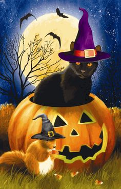 """Sunsout's """"Witching Time"""", a 1000 piece jigsaw puzzle, by Tom Wood; a black cat in a purple hat and pumpkin squirrel in a black hat celebrate Halloween! Samhain Halloween, Halloween Boo, Halloween Cards, Holidays Halloween, Vintage Halloween, Happy Halloween, Halloween Clipart, Black Cat Art, Black Cats"""