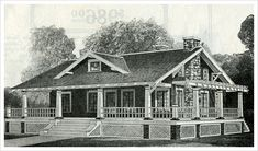 Model shown in the 1916 Sears catalog featured a wrap-around porch and pergola. With just over 1000 sq. this house had two bedrooms, one bath, a large living room and ample outdoor living area. Pergola Ideas For Patio, Outdoor Pergola, Diy Pergola, 1000 Sq Ft House, One Level Homes, Craftsman Bungalows, Craftsman Homes, Porch Plans, Cottage Plan