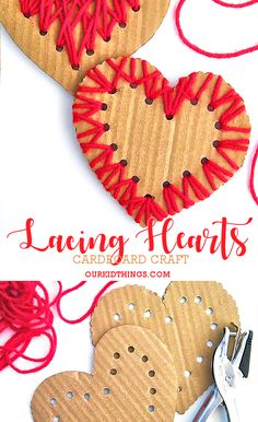 Cardboard Lacing Hearts Valentine's Day Mother's Day Gift Idea #valentinesday #mothersday