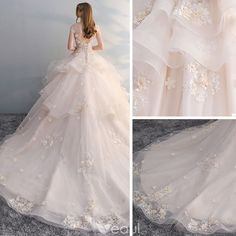 Chic / Beautiful Champagne Wedding Dresses 2018 Ball Gown Lace Appliques Pearl Sequins Scoop Neck Backless Cap Sleeves Cathedral Train Wedding