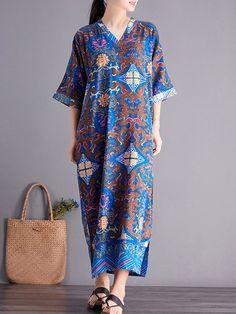 fc1861021d8 Side Splited Folk Style Print Half Sleeve Vintage Dresses is high-quality