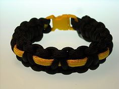 BUCKLED w COLOR LINING Paracord Bracelet Solid Black with Yellow Lining Size 8 >>> Check this awesome product by going to the link at the image.(This is an Amazon affiliate link and I receive a commission for the sales)