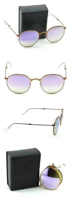 046f913ad3 Ray-Ban RB3532 Round Folding Flash Gradient Unisex Sunglasses (Shiny Bronze  Frame Copper Mirror Gradient Lens 198 7Y
