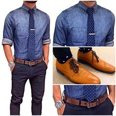 denim shirt , navy chinos , spotted tie , brown shoes