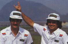 Nelson Piquet is joying with Nigel Mansell ...