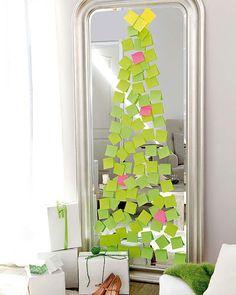 Ideias para deixar o seu Natal mais criativo.  Para quem ama post-its!