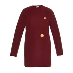 BALENCIAGA Wool-jersey cocoon-shaped coat (2,655 CAD) ❤ liked on Polyvore featuring outerwear, coats, burgundy, oversized coat, red coat, cocoon coat, burgundy coat and collarless coat