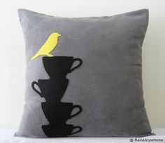 Yellow Bird Resting On Teacups Grey Pillow Cover. Modern Tea Time.  Decorative. $28