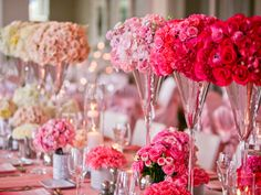 The ombre trend isn't going anywhere! To make sure the arrangement isn't too over the top, stick to one flower type, like roses or hydrangeas, to really make the colors pop at your wedding reception.
