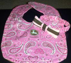 Baby Girl John Deere Bib and Matching by HeavenScentBeauty on Etsy, $10.00