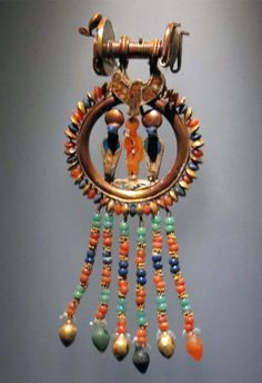 One of the 6 pairs of Tutankhamun's earrings; lapis, carnelian and either turquoise or amazonite. | From the King Tut Exhibit at The Pacific Science Center in Seattle
