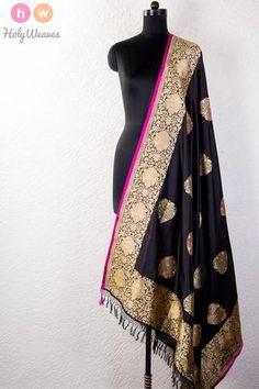 #Black #Handwoven #Katan #Silk #Kadhuan #Brocade #Dupatta #HolyWeaves