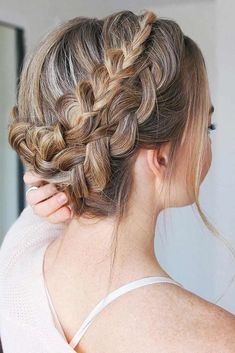 Double Dutch Braids Updo #braids #updo #brownhair ❤️ Dutch braids are among the most sophisticated long hairstyles. Now let's discover amazing looks with Dutch braids we have picked for your inspiration.  ❤️ See more: http://lovehairstyles.com/dutch-braid/ #lovehairstyles #hair #hairstyles #haircuts